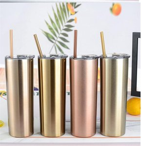 Skinny Tumbler With Lid Stainless Steel Vacuum Insulated Thermos Bottle 20oz Coffee Cup Wine Tumblers Mugs Sea ShippingDDA122
