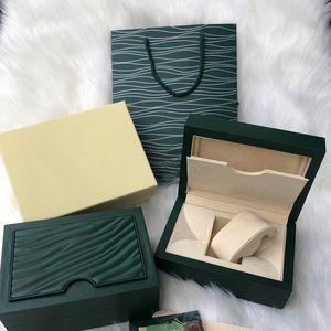 Hommes de luxe ROLEX Coffret en bois d'origine intérieure extérieure femme Montres Boîtes Papiers cadeaux Sac Hommes Montres-bracelets boîte mouvement autoamtic