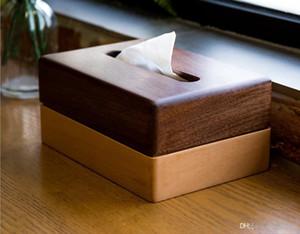 Schwarzer Walnuss kreativer Tissue-Box einfach Wohnzimmer Couchtisch Tablett Hotel Tisch nach Hause Schlafzimmer Holz Massivholz