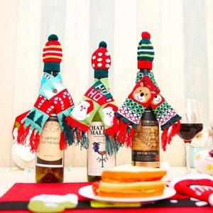 1 Unidades ScarfHat Knitted Red Wine Bottle Decor Novedad Bufanda Bear Tassel Santa Claus Hat para decoraciones navideñas Drop Shipping