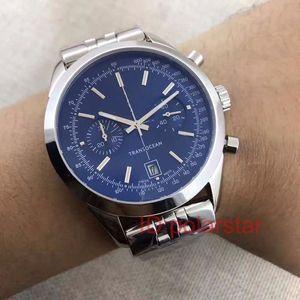 Moda de lujo Transocean Trabajo Cuarzo Cronógrafo Acero inoxidable Mens Designer Men Reloj Watches Watch WristWatches Montre de Luxe