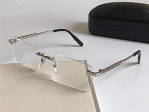 vidrios ópticos de marca gafas sin montura marco Prescripción 0030 fahion de negocios simple lente transparente para los hombres