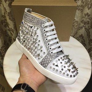 Luxury Designer Fashion Designer Marque clouté Spikes chaussures Flats Rouge Bas Chaussures Casua pour hommes, femmes véritable parti Chaussures de sport en cuir 35-47