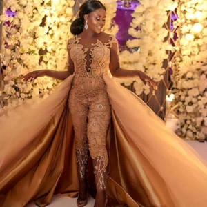 2019 monos clásicos vestidos de baile con tren desmontable mangas largas de encaje apliques de noche de lujo del partido africano de las mujeres pantalón BC0609