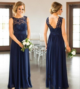 Plus Size Bridesmaid Dresses Country For Weddings Navy Blue Jewel Neck Lace Appliques Floor Length Formal Maid Of Honor Gowns