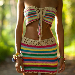 Daisy Chain tube Top and Skirt Hand Crochet Women Bikini Set Beach Swimwear swimsuit Suit
