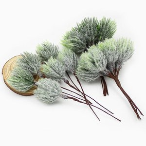 6pcs Mini Artificial Pine Needles ouro Sliver Natal flores artificiais para Grinalda Wedding Decoração de Natal DIY