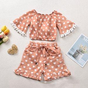 Valentine Kids Love Coeur Vêtements Sets Girls Love Imprimer Tassel balle dentelle Flare à manches courtes + Bow Pantalons courts 2Pcs / Set Tenues M1161