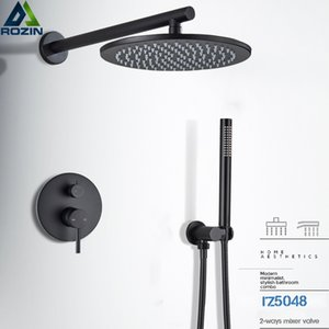 "Matte Black Shower Faucet Brass Rainfall Concealed Shower Mixer Tap In-wall 8 10 12 16"" Rain Shower Head Diverter Mixer Valve Y200321"