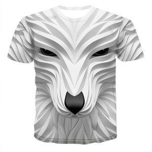 2021 Designer Tees Mens Wolf Cool Clothing New Short Animal Fashion 3D Summer Sleeve Casual T-Shirt Male Head Pkmbh