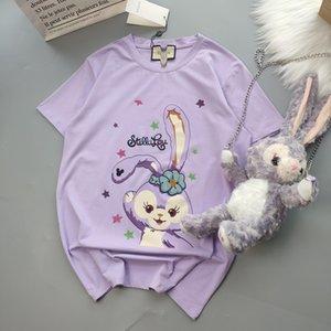 20ss New Arrival Paris print purple Tshirts+rabbit bags Crewneck Short Sleeve Tee Breathable Vest Shirt Streetwear Tshirt Outdoor T-shirt
