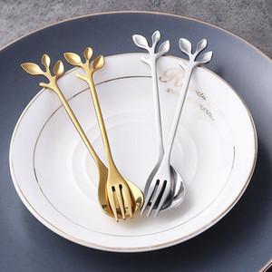 Yaratıcı Şube Altın Kaşık Fork 12cm Paslanmaz Çelik Mini Kahve Çay Stiring Kaşık Tatlı Meyve Çatal Düğün Hediye Mutfak Yemek takımları Favor