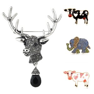 Корова слон Sika Deer Брошь животные Женщины Эмаль Подвеска ювелирных изделия Everyday Wild Брошь Симпатичной Badge Банкет шарф Pins подарки