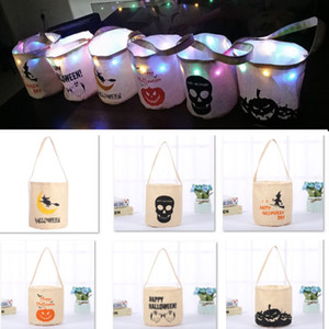 Halloween Decoration Candy Bucket Bag Led Night Canvas Handbag Bag Cartoon Storage Bag For Pumpkin Ghost Skull Party Gift HH9-2314