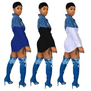 Son Kadınlar Kot Elbiseler Moda Denim Patchwork Uzun Kollu Yaka Boyun Düğmeleri Ince Bel Leydi Gömlek Sash 2020 İlkbahar Sonbahar