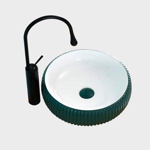 Contatore bacino verde nordica opaca rotonda Sopra ceramica Piccolo Bathroom Lavandino intagliato Art Sink Verde Bianco Bowl Shampoo Lavelli