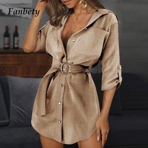 Women Metal Button Adjustable Sleeve Shirt Dress Summer Office Lady V Neck Solid Belted Dresses Spring Cotton Linen Party Dress