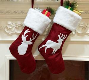 New Festliche Weihnachtssocke Geschenke Weihnachtsbaum-Dekor-Strümpfe hängende Socken-Ornamente Kids Candy Bag Geschenk Weihnachtsdekoration für Haus