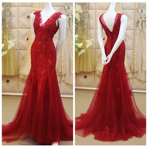 2019 Sheer V-Neck Slim Mermaid Prom Dresses Lace Appliques Beading Sequins Formal Long Women Sleeveless Evening Party Gowns Special Dress