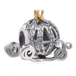 Nuevo 100% real joyería 925 bolas de plata europea Cenicienta Coche de la calabaza con el encanto cristalino cabida los granos del encanto del regalo de las mujeres pulsera DIY