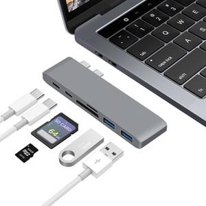 dongle USB Hub Adapter Type Multiport C con 4K doppia porta USB 3.0 SD / TF del lettore di schede Converter per MacBook