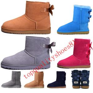 2020 Curva-nó WGG Womens Designer Austrália clássico meio de altura Botas Bow Luxo Mulheres menina Winter Snow Botim sapatos de couro Tamanho 36-41
