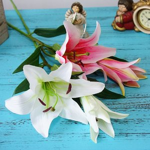 New high quality 2 heads big Artificial Lily Flowers branch for new House Home Wedding Festival Decoration fake silk flores