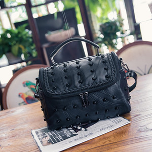 Fashion Black Genuine Leather New Style Shoulder Bag Women's Riveting Nail WOMEN'S Leather Bags