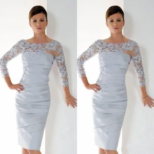 Prata Mãe de vestidos de noiva Bainha 3/4 mangas apliques Groom Wedding Party curto vestido vestidos mãe para Wedding 2020