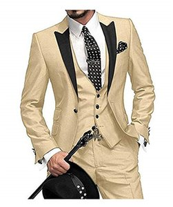 2020 Custom Slim Fit One Button men suits for wedding Notch Lapel Men Suits groomsmen best man Tuxedo 3 piece(Jacket+vest+pants)