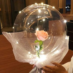LED Luminous Balloons Transparent Round Foam Rose Bouquet Bobo Ball Birthday Party Wedding Decoration Valentines Day Balloons T200526