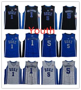 Youth Zion Williamson NCAA College Jerseys Duke Blue Devils Kids Basketball Jerseys 5 RJ Barrett Jersey Blue Black White