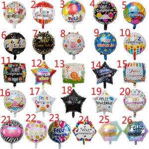 50pcs / lot 18inch Cumpleaños español de Feliz cumpleaños globos de aire completan balloes feliz fiesta de cumpleaños de helio de mylar ballon