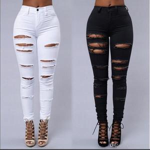 High Street Frauen dünner Jeans Sexy Ripped Skin Tight Jeans Art und Weise Schwarzweiss-Bleistift-Denim-Hosen