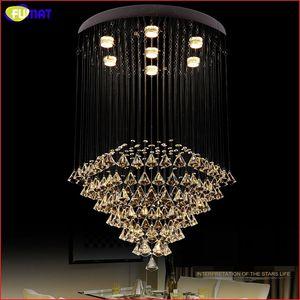 FUMAT Crystal K9 Ceiling Lamp Pyramid Diamond Shape GU10 LED Stainless Steel Plate Modern Style Hanging Light Fixture Chandelier