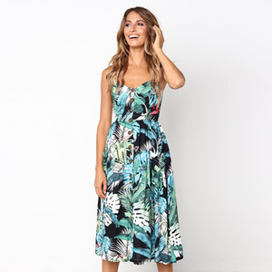 الجيش خمر الخضراء فستان الشمس المرأة الصيف بوهو نمط مثير عارية الذراعين ميدي زر مخطط الزهور اللباس شاطئ أنثى T200623