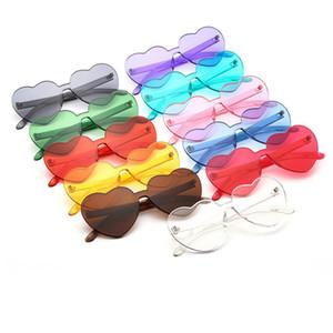 Moda en forma de corazón gafas de sol para las mujeres colores del caramelo sin montura niñas gafas de sol lentes marco grande gafas accesorios de lujo