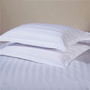 Pure White Hotel Наволочка 100% сатин хлопок Увеличение плотности Полосатый Подушка Обложка Одна пара кровать наволочки 50x80cm / 58x88cm Размер