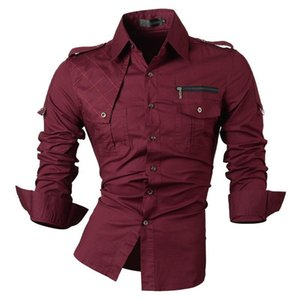 Jeansian Chemise Relaxant Hommes Chemises Mode Desinger à manches longues Slim Fit 8371 winered MX200518