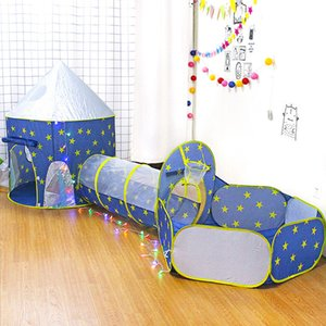 Foldable 3 In 1 Spaceship Children's Tent Baby Wigwam Tipi Dry Pool Ball Box Rocket Ship Tent For Kids Ball Pool Children's Room