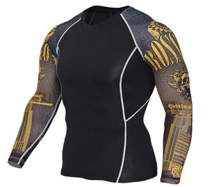 High Elastic Mens Compression longSleeve T-Shirt 01 Bodybuilding Sports Suit Workout Fitness Sportswear