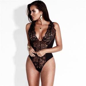 Mujer Silm Fit Pestañas encaje puntada sexy mono perspectiva profunda V lencería erótica ropa interior de mujer negro