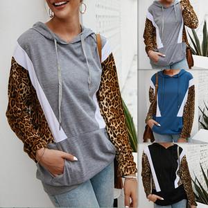 Leopardo de las mujeres mosaico sudaderas con capucha Tops manga larga con cordón sudadera con capucha ropa exterior de la capa del invierno del otoño con capucha LJJA3691-13