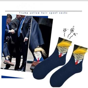2020 Président Donald Trump drôle chaussettes avec 3D Faux cheveux Crew Chaussettes Hommes Femmes Chaussettes de compression 2020 Election Spoof Streetwear Party Favor