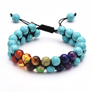 8mm naturel pierre de lave Bracelet coloré 7 Chakra Bracelet pour femmes couches doubles Bijoux réglable braclets Hommes Charm