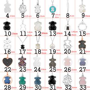 FAHMI nuevos productos colgante, collar clásico oso plata de ley 925 de plata La joyería de diseño de moda mujer natural Negro ágata