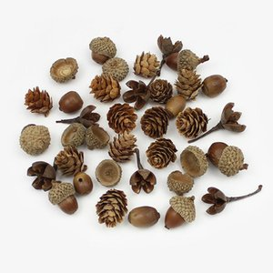 20pieces secas naturales Flores del cono del pino de flor artificial de la bellota para la decoración casera DIY Navidad Garland de la guirnalda