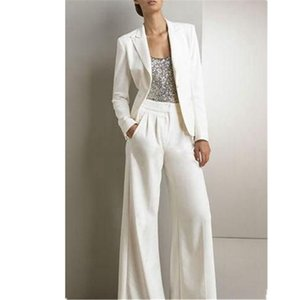 Formal Women Business Office 2 juegos de piezas blancas moda Made señoras de las mujeres del partido de baile trajes de chaqueta y pantalones Tailleur Hembra
