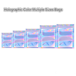 Newest Arrival Holographic Color Multiple Sizes Resealable Smell Proof Bags Foil Pouch Bag Flat Bag for Party Favor Food Storage