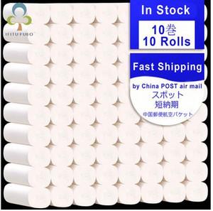 12 Roll / lot schnelles Verschiffen Toilettenrollenpapier 4 Schichten Startseite Bad Toilette Rollenpapier Primär Zellstoff Toilettenpapier Tissue Handtücher FS9501